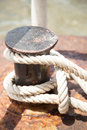Rope tied to the core harbor areas Royalty Free Stock Images