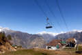 Rope way th april auli uttarakhand india asia auli boasts the asia's highest and longest cable car covering a distance of km Royalty Free Stock Image