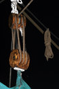 Rope winch on a sailing ship Stock Images