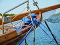 Ropes on an ancient sailing boat Royalty Free Stock Photography