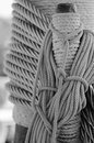 Ropes braided in bays on an ancient sailing vessel the Royalty Free Stock Images