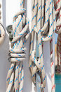 Ropes in luxury sail boat Royalty Free Stock Photo