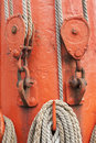 Ropes and mast details of sailing boat Royalty Free Stock Photos