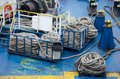 Ropes for mooring on the deck of the ferry in kerch crimea Stock Photos