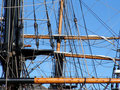 Ropes and rigging on tallship Royalty Free Stock Photo