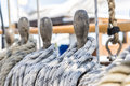 Ropes tied on a ship deck shallow depth of field Royalty Free Stock Images