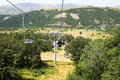 Ropeway in mountain city jermuk armenia Royalty Free Stock Images