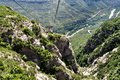 Ropeway on mountain montserrat in spain in the northwest from barcelona the freakish and mysterious place a massif which consists Stock Photo