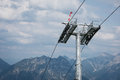 Ropeway pillar in front auf tyrol mountains Stock Photos