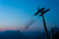 Ropeway pillar at night with blue sky Royalty Free Stock Photos