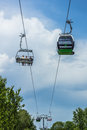 The ropeway in silesia park largest silesian agglomeration most industrialized region poland gondolas are named Royalty Free Stock Image