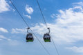 The ropeway in silesia park largest silesian agglomeration most industrialized region poland gondolas are named Royalty Free Stock Photos