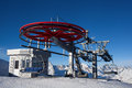Ropeway in snow mountain under blue sky Stock Photography