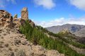 Roque nublo peak gran canaria mountain landscape Royalty Free Stock Photos