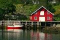 Rorbu and Boat at the Lofoten Royalty Free Stock Photo