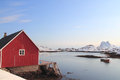 Rorbu of steine traditional fisherman s cabins the village teine in lofoten islands Stock Photos