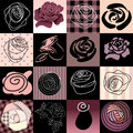 Rores set seamless background pattern will tile endlessly Royalty Free Stock Photos