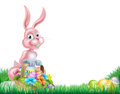 Rosa påsk bunny egg hunt för tecknad film Arkivfoton
