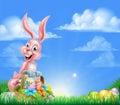 Rosa påsk bunny egg hunt för tecknad film Royaltyfria Bilder