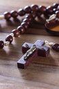 Rosary beads on a table Royalty Free Stock Photo
