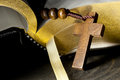 Rosary and bible wooden with cross in front of holy Royalty Free Stock Photo
