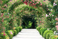 Rose Arch In the Garden Royalty Free Stock Photos