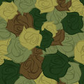 Rose army seamless pattern. Military texture of flowers. Vector