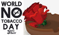 Rose in Ashtray to Commemorate World No Tobacco Day, Vector Illustration