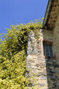 Rose banks stone house in the cevennes with a huge Royalty Free Stock Image