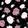 Rose on black background pattern seamless