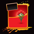 Rose bouquet on orange splattered banner Royalty Free Stock Image