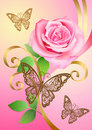 Rose, butterflies and ribbons Royalty Free Stock Image