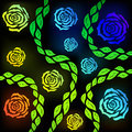 Rose colorful roses on a black background vector graphics Royalty Free Stock Photos