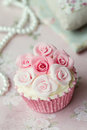 Rose cupcake with sugar paste roses Stock Photo
