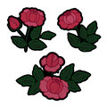 Rose Embroidery Patch Set Royalty Free Stock Photo