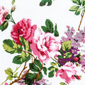Rose fabric background fragment of colorful retro tapestry text textile pattern with floral ornament useful as Royalty Free Stock Images
