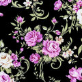 Rose fabric background fragment of colorful retro tapestry text textile pattern with floral ornament useful as Stock Photography
