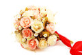 Rose fake flower on white background Royalty Free Stock Photo