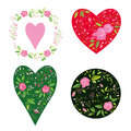 Rose flower bouquet and heart shape circle Royalty Free Stock Images