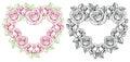 Rose flower heart shape frame