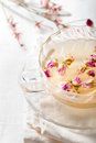 Rose flower herbal tea in a glass cup Royalty Free Stock Photo