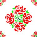 Rose Flower Pattern Seamless with Red Petals and Green Leaves Tile Vector