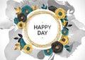 Rose Flower Poster Design. Grey Marble Texture Card. Shimmer Golden Banner Template. Vector Illustration Gold Foil