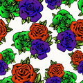 Rose flower seamless pattern, vector background. Flowers roses in unusual bright colors creative, purple bud,  orange Royalty Free Stock Photo