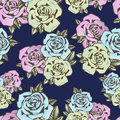 Rose flower seamless pattern, vector background. Flowers roses in unusual colors creative, blue bud,  pink and yellow Royalty Free Stock Photo