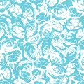 Rose flower white and turquoise seamless vector pattern background.