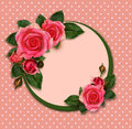 Rose flowers composition and holiday frame on pink background Stock Photography