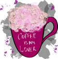Rose flowers in a cup with inscription coffee is my lover, vecto