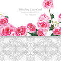 Rose flowers and Lace Wedding Invitation delicate card. Vector illustration