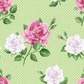 Rose flowers, petals and leaves in watercolor style on green dotted background. Seamless pattern for textile, wrapping